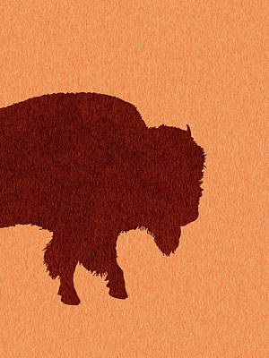 Royalty-Free and Rights-Managed Images - Bison Silhouette - Scandinavian Nursery Decor - Animal Friends - For Kids Room - Minimal by Studio Grafiikka