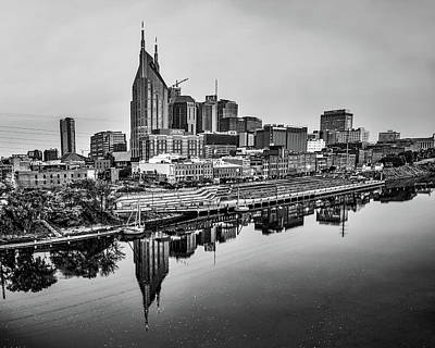Royalty-Free and Rights-Managed Images - Black and White Nashville City Skyline by Gregory Ballos