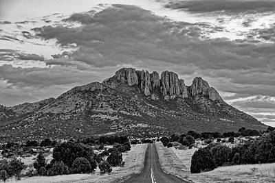 Keith Richards - Black and White Photograph of Sawtooth Mountain - Davis Mountains Scenic Loop Fort Davis West Texas by Silvio Ligutti