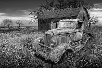 Comedian Drawings Rights Managed Images - Black and White Rusted Vintage Truck with Weathered Barn Royalty-Free Image by Randall Nyhof