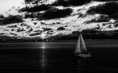 Photograph - Black and White Sailboat at Sunset by Christine Buckley