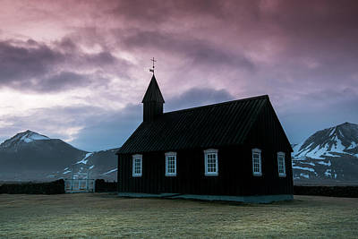 Impressionist Landscapes - Black church of Budir at Snaefellsnes peninsula region in western Iceland. by Michalakis Ppalis