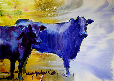 Surrealism Royalty-Free and Rights-Managed Images - Black cows watercolor painting by Mike Jory