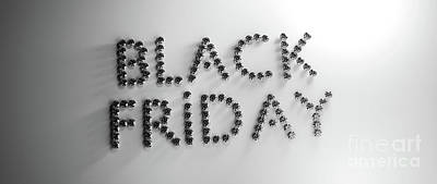 Winter Animals - Black friday sign made of diamonds, jewelry by Michal Bednarek