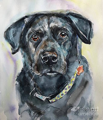 Painting - Black Labrador Retriever by Maria Reichert