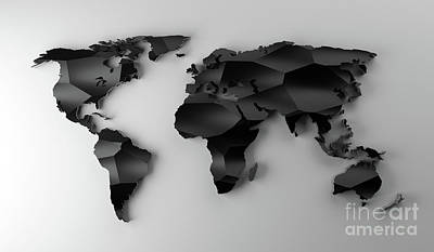 Have A Cupcake - Black low poly world map on white wall. Modern wallpaper. by Michal Bednarek