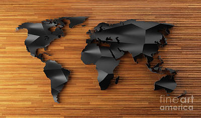 Have A Cupcake - Black low poly world map on wood. Modern wallpaper. by Michal Bednarek