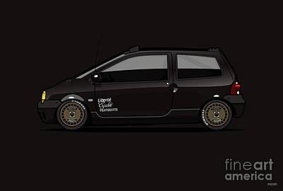 Digital Art - Black Lowered Renault Twingo Black on Ronal Turbo Wheels by Tom Mayer II Monkey Crisis On Mars