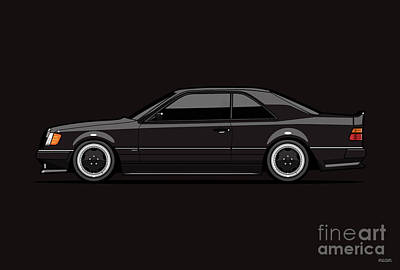 Digital Art - Black MB C124 300CE 6.0 A M G Hammer Widebody Coupe by Monkey Crisis On Mars