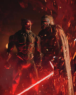 Photograph - Black Panther and Kylo Ren Action Figure  by Lance Reis
