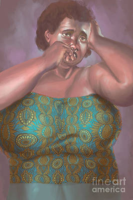 Digital Art - Black Woman Hearing her Incomplete History by David James
