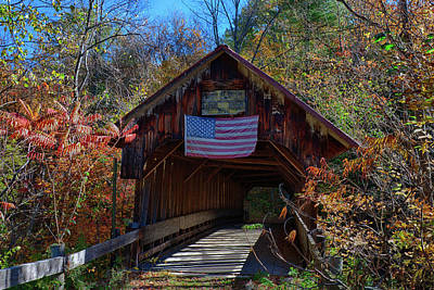 Christmas Trees - Blacksmith Covered Bridge with American Flag by Jeff Folger