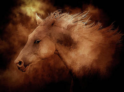Animal Paintings David Stribbling - Blazing Fire Horse by Athena Mckinzie