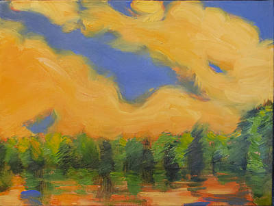 Painting - Blazing Light Over A Creek by Aaron Bowles