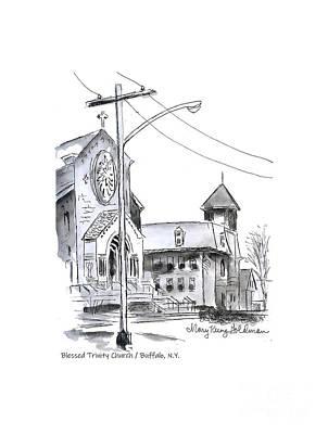Drawing - Blessed Trinity Church, Buffalo, N.Y. by Mary Kunz Goldman