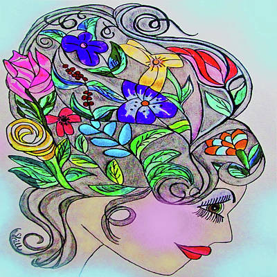 Drawings Royalty Free Images - Blooming Beauty Royalty-Free Image by Sharon Hill