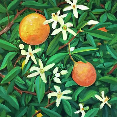 Painting - Blooming Orange Tree by Laura Dozor