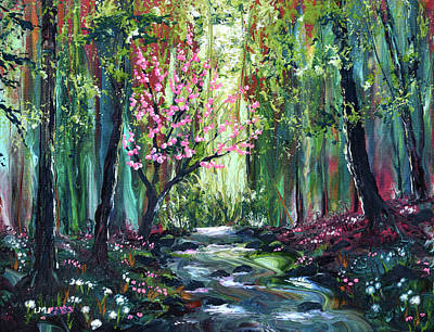 Painting - Blossoming Tree by a Brook by Laura Iverson