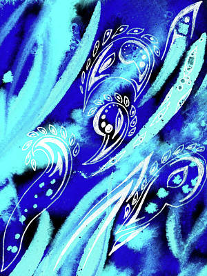 Royalty-Free and Rights-Managed Images - Blue Abstract Feathers And Paisley Leaves by Irina Sztukowski