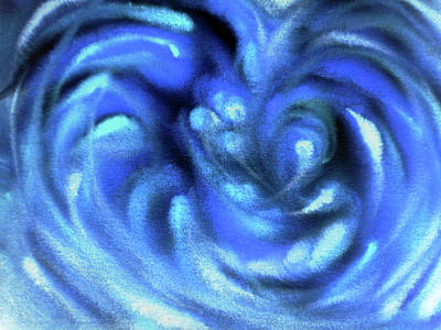 Royalty-Free and Rights-Managed Images - Blue Abstract Swirls Watercolor Decor  by Irina Sztukowski