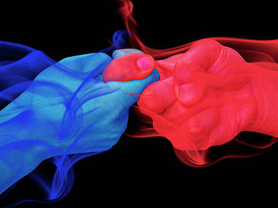 Surrealism Digital Art - Blue and Red Unity Handshake Surreal by Barroa Artworks
