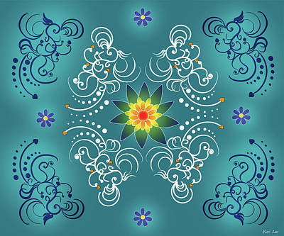 Kids Cartoons - Blue and White Mandala Pattern by Yuri Lev