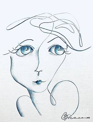 Drawings Royalty Free Images - Blue Royalty-Free Image by Barbara Chase