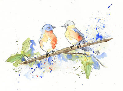 Animals Royalty-Free and Rights-Managed Images - Blue Birds Let Loose by Taphath Foose