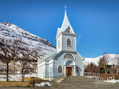 Royalty-Free and Rights-Managed Images - Blue Church at Seydisfjordur East Iceland by Colin and Linda McKie