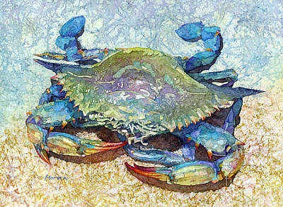 Modern Feathers Art - Blue Crab-pastel colors by Hailey E Herrera