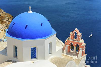 Photograph - Blue Dome, Oia, Santorini by Henk Meijer Photography