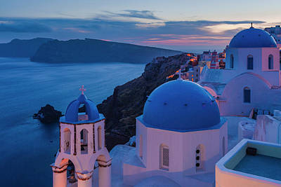 Royalty-Free and Rights-Managed Images - Blue Domes Of Santorini by Evgeni Dinev