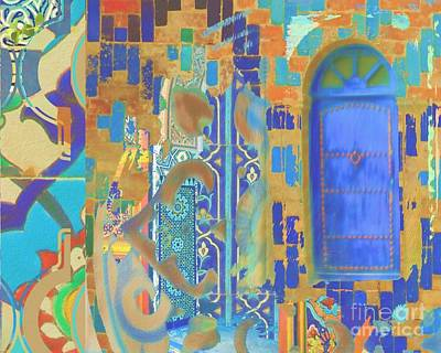Mixed Media Royalty Free Images - Blue Door entrance Royalty-Free Image by Seema Z