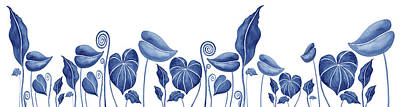 Painting Royalty Free Images - Blue Exotic Watercolor Leaf Garden  Royalty-Free Image by Irina Sztukowski