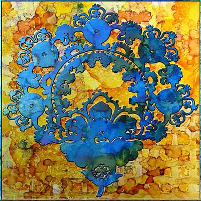Digital Art - Blue Flowers on Gold by Sarajane Helm