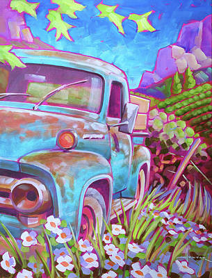 Painting - Blue Ford by Larry Hunter