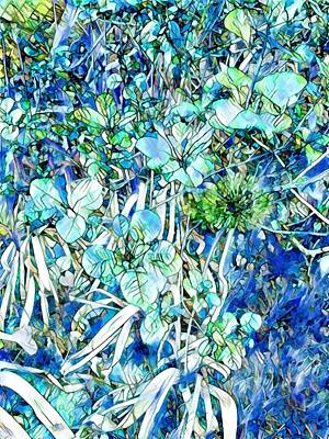 Mixed Media Royalty Free Images - Blue Garden Mosaic Royalty-Free Image by Eileen Backman