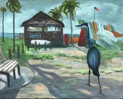 Painting - Blue Heron Beach Shack by Lois Bajor