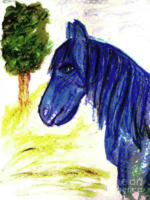 Animals Royalty-Free and Rights-Managed Images - Blue Horse by Mimulux Patricia No