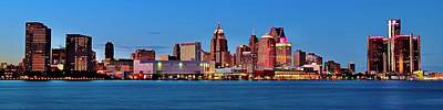 Coy Fish Michael Creese Paintings - Blue Hour Pano of Detroit by Frozen in Time Fine Art Photography