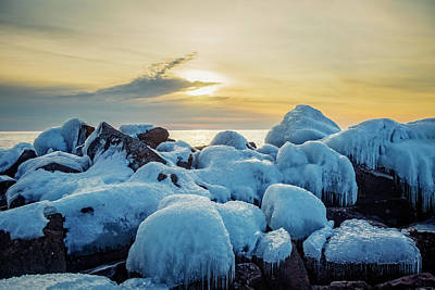 Photograph - Blue Ice at Sunrise by Joe Miller