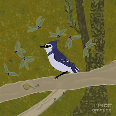Owls - Blue Jay by Priscilla Wolfe