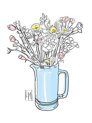 Black And White Ink Illustrations - Blue Jug by Luisa Millicent