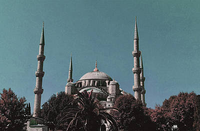Surrealism Royalty Free Images - Blue Mosque in Istanbul - Surreal Art by Ahmet Asar Royalty-Free Image by Celestial Images