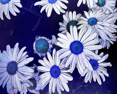 Sean - Blue On Blue Daisy Fun by Ann Powell