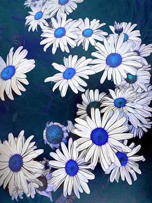 Sean - Blue On Blue Daisy Fun Two by Ann Powell
