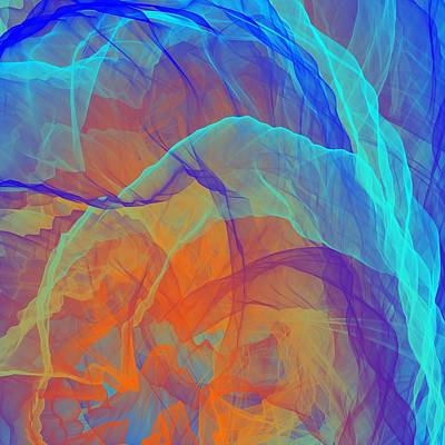 Surrealism Royalty-Free and Rights-Managed Images - Blue Orange Cyan Smoke by Shapes Mania