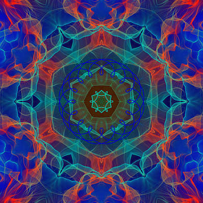 Surrealism Royalty Free Images - Blue Orange Red Cyan  Flame Portal to Eternity Royalty-Free Image by Shapes Mania