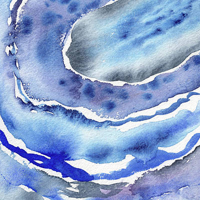 Royalty-Free and Rights-Managed Images - Blue Organic Curves Of Ocean Waves Abstract Watercolor Decor IV by Irina Sztukowski