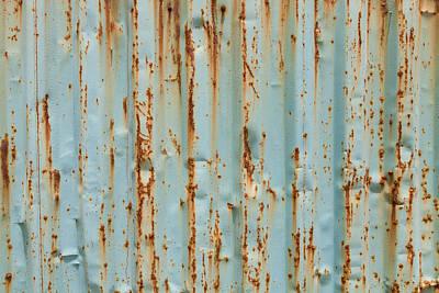 School Teaching - Blue painted metal with rust texture by Julien